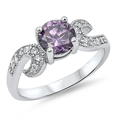 Simulated Amethyst Swirl Solitaire Polished Ring .925 Sterling Silver Band Size 11 (Amethyst Swirl Ring)