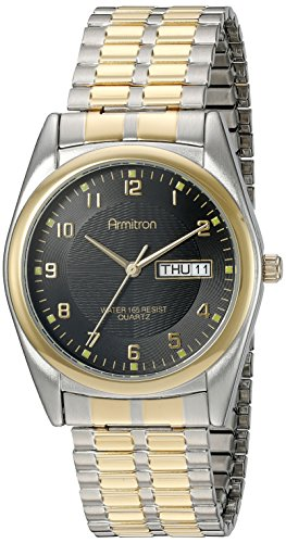 Armitron Men's 201143 Round Easy to Read Black Dial Two-Tone Expansion Band Watch