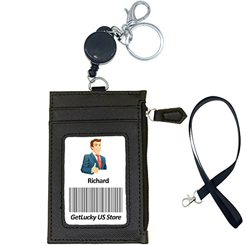 """Badge Holder with Zipper,Boarding Pass Holder,2-Sided PU Leather ID Badge Holder with Retractable Badge Reel & Easy Clasp Keychain,1 ID Window 4 Card Slots 1 Zipper Pocket, 17.8"""" Neck Lanyard (Black) (Leather 9000)"""
