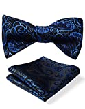 HISDERN Men's Paisley Jacquard Wedding Party Self Bow Tie Pocket Square Set One Size Blue/Black