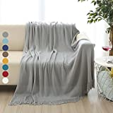 ALPHA HOME Soft Throw Blanket Warm & Cozy for Couch Sofa Bed Beach Travel - 50'' x 60'', Gray