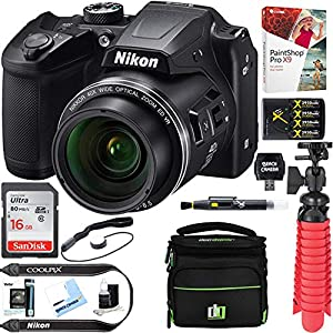 Nikon COOLPIX B500 16MP 40x Optical Zoom Digital Camera w/Built-in Wi-Fi NFC & Bluetooth + 16GB SDHC Accessory Bundle by Nikon