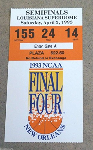 - NCAA CHAMPIONSHIP FINAL FOUR BASKETBALL TICKET - 1993 - CAROLINA MICHIGAN KANSAS
