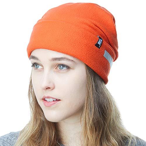 Fleece Hat Junior - THE HAT DEPOT Fleece Winter Beanie Hat Cold Weather Reflective Safety for Men & Women Performance Stretch (Orange)