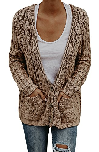 Chunky Cotton Cardigan - Faisean Womens Oversized Fall Long Cable Knit Button Down Grandad Cardigan Sweaters