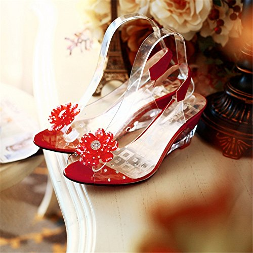 casual Sandali fiore Bianco aperti a SHINIK con da tacco C Nero Blu Trasparenti Sandali zeppa Scarpe con per Giallo alto Rosso donna aaIOZq