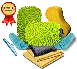 Car Wash kit Includes Two Microfiber Mitts, One Large Sponge, Two Microfiber Cloth, Two Chamois Towel, One Bug Scrub Sponge, One Window Squeegee by Silver Pinecone Trading