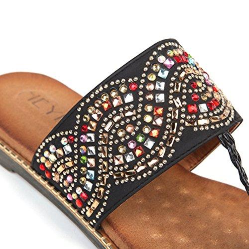 Casual Negro Moda de Diapositivas Flip de Flops Planas Toe Clip de Verano Zapatillas Rhinestone Mujeres Sandalias Las aA1qv