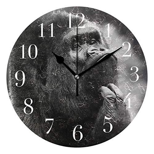 NMCEO Round Wall Clock Gorilla Little Monkey Fun Acrylic Original Clock for Home Decor Creative