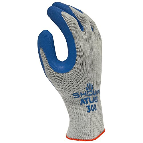 (SHOWA 300L-09 Atlas Fit 300 Rubber-Coated Gloves, Large, Gray/Blue (12 Pair))