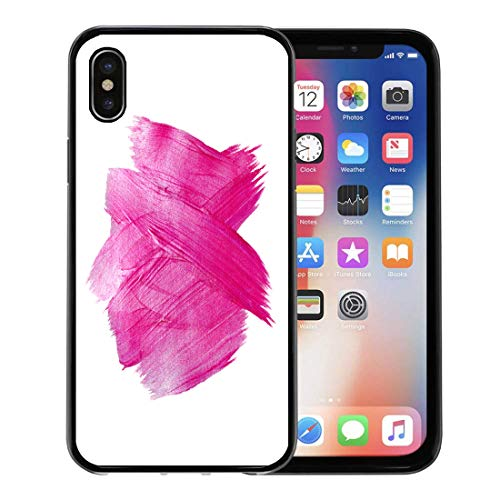 (Semtomn Phone Case for Apple iPhone Xs case,Red Light Pink Watercolor Paint Stain Abstract Shining Brush Stroke for You Amazing Project Confetti for iPhone X Case,Rubber Border Protective Case,Black)