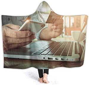 Wearable Hooded Blanket Online Payment Ss H Phone Us Credit Car for Online Shopp Printing Soft Print Hooded Throw Wrap Premium Fleece Warm, 80W by 60H Inches