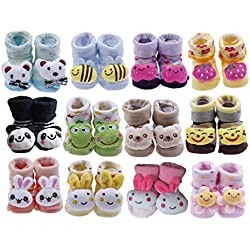YueLian 12 Sets Baby Newborn Indoor Floor Socks Booties Toddler Boot Knit Shoes Animal Pattern