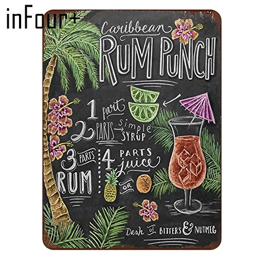 crzcrz Rum Punch Cocktail Recipe Retro Vintage Metal Tin Sign Bar Wall Decor Metal Sign Vintage Home Decor Tin Sign Metal -