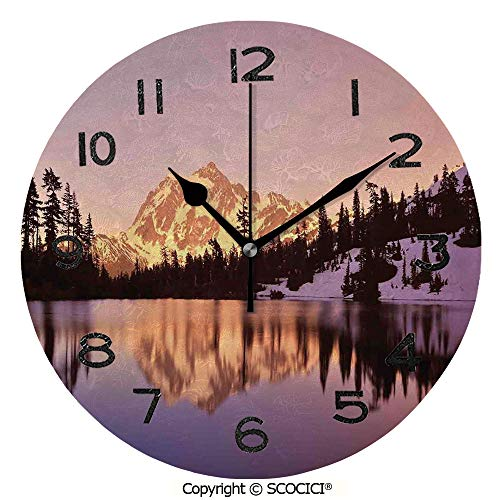(SCOCICI Print Round Wall Clock, 10 Inch Snow Capped Mt Shukand Lake at Sunset Evening View National Forest Washington Quiet Desk Clock for Home,Office,School)