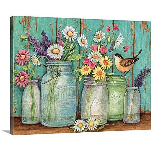 Flower Jars Canvas Wall Art Print,