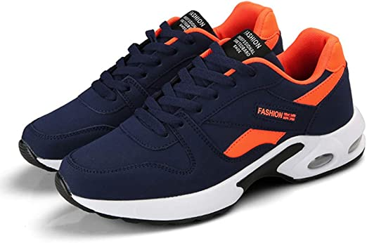 H.L Otoño e Invierno Zapatos Deportivos, Zapatillas de Hombre Casual Ligero Amortiguador de Running Zapatillas de Cuero Superior Suela de cojín de Aire,44: Amazon.es: Hogar