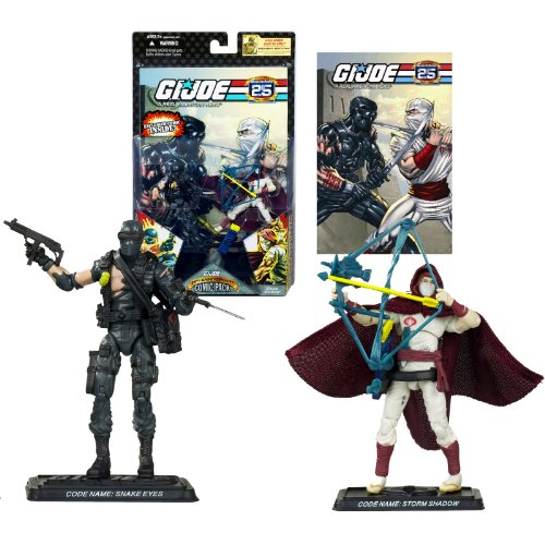 Hasbro Year 2007 G.I. JOE 25th Anniversary Comic Pack Series 2 Pack 4 Inch Tall Action Figure - SNAKE EYES with Assault Rifle, Knife, Bag and STORM SHADOW with Bow, Quiver, 2 Katana Swords Plus 2 Display Base and Comic Book ()