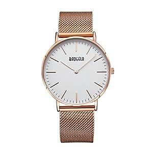 Baogela Womens Fashion Rose Gold Casual Classic Ultrathin Quartz Wrist Watch Steel Strap