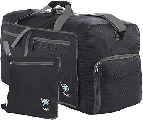 "bago Travel Duffle Bag For Women & Men - Foldable Duffel Bag For Luggage Gym Sports (Medium 23"", Black)"