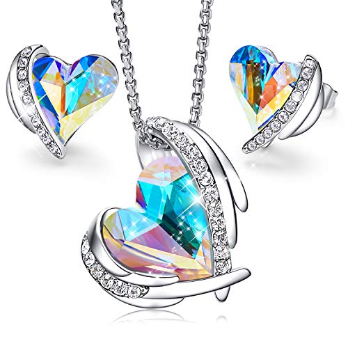 CDE Women Jewelry Set Heart Pendant Necklace and Studs Earrings Embellished with Crystals from Swarovski Jewelry for Women