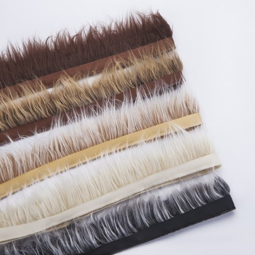 Neotrims Fake Faux Luxury Quality Two Tone Fur Trimming on Satin Ribbon Trim, For Costume, Crafts, Hoods & Coats Edging. 5 Earthy Natural Colours, Silky Fur Hairs, 7-8 cms Long. - Cream - 1 Meter ()