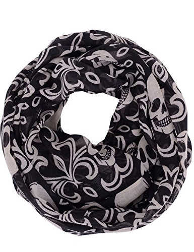WM BEAUTY Skull and Floral Pattern Soft Sheer Close Scarf Loop Infinity Scarf Black 71X22 Inches