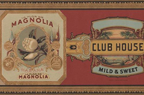 Vintage Pipe Cigar Brands Burgundy Wallpaper Border Retro Design, Roll 15' x 6.6''