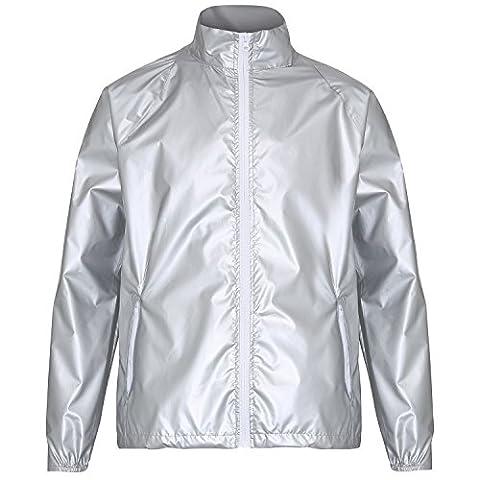 2786 Mens Contrast Lightweight Windcheater Shower Proof Jacket (XL) (Silver (Metallic)/ White) (Mens Metallic Silver Jacket)