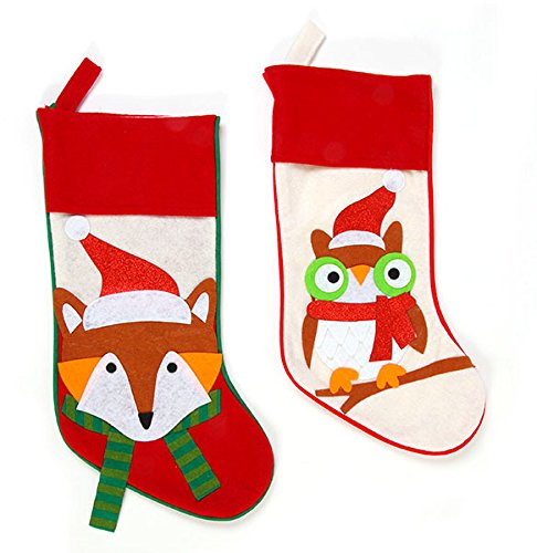 DDI 2127636 Felt Owl & Fox Christmas Stockings - Case of 36