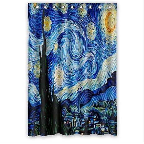 Special Design Starry Night By Vincent Van Gogh Waterproof Bathroom Fabric  Shower Curtain,Bathroom Decor