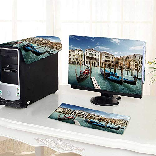 Auraisehome Computer dustproof Three-Piece Decor Gondolas Venetian Lagoon Venezia Photo Print Accessories Blue Grey Orange for LED LCD Screens Flat Panel HD Display /23