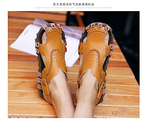 Das neue Männer Schuh Echtleder Sandalen Freizeit Strand Dualer Gebrauch Trend Männer Sandalen ,braun,US=9.5,UK=9,EU=43 1/3,CN=45