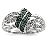 ICE CARATS 925 Sterling Silver White Blue Diamond Band Ring Size 8.00 Fine Jewelry Gift Set For Women Heart