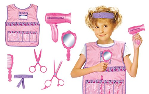 Hair Stylist Role Play Costume Set for Kids with Hairdresser Accessories, Including Blow Dryer, 2 Scissors, Mirror, and Brush (She Hulk Costume Kids)