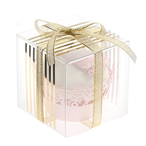Ling's Moment 25 pcs 3x3x3 Clear Wedding Favor Box in Gold Soft PVC Scoring for Party Baby Shower Gift (Clear Boxes For Wedding Favors)