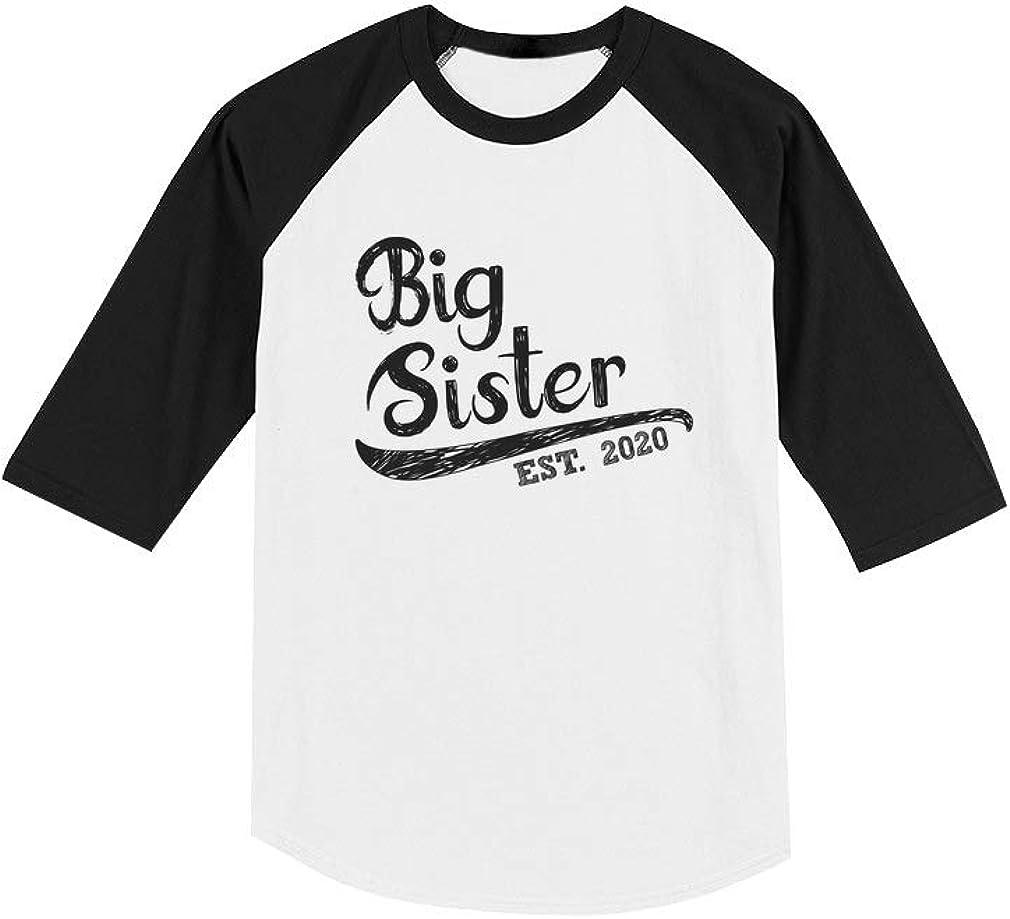 Girls Big Sister Est 2020 Sibling Gifts Toddler Raglan 3//4 Sleeve Baseball Tee