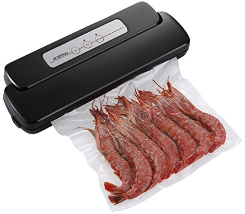 Vacuum Sealer Machine, Geryon Compact Automatic Vacuum Sealing System with Starter Pack of Saver Roll and Bags for Foods Preservation, - Freezer Professional Black