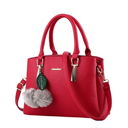 Vino Bolso Bequemer Mano Moda Cuero Señora Laden Rojo Para La Pu Las Bolsos De Mujer Ow5Txgwq