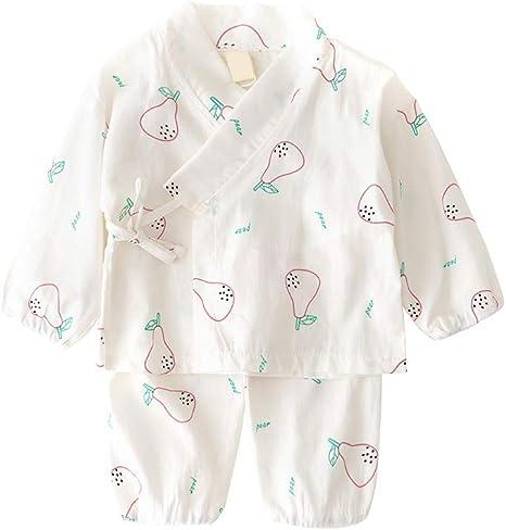Conjunto de pijama de algodón japonés con diseño de pera de dibujos animados para bebé, 80 cm, color blanco, 1 juego: Amazon.es: Bebé