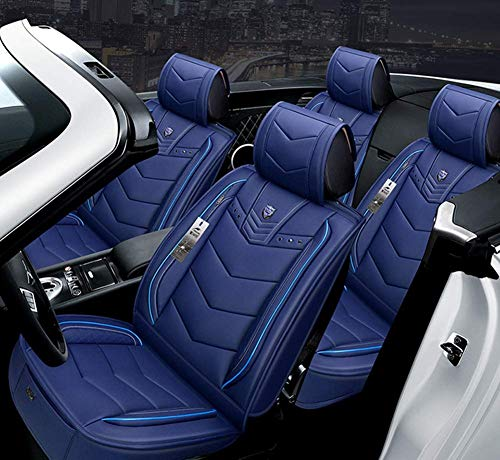 AYCYNI Easy To Clean And Wear Leather Car Seat Cushion 5 Seats Full Set - Non-Slip Suede Backing Universal Fit Adjustable Bench For 99% Type Of Car,Blue,Blue: Kitchen & Home