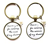 Thank you for raising the man/woman of my dreams mother in law gift keychain set,mother's day gift,mother of the bride,mother of the groom gift