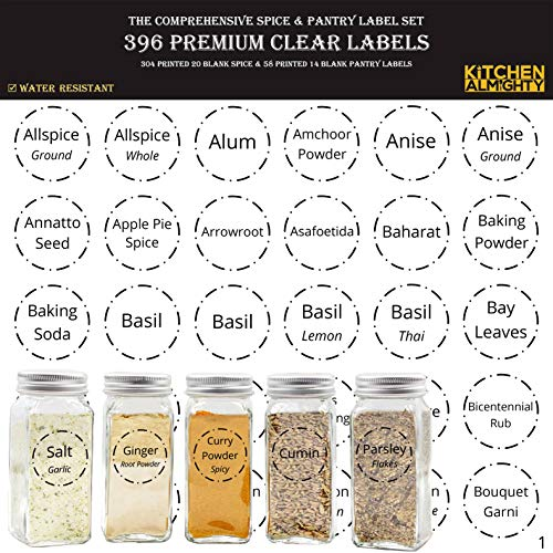(396 Printed Spice Jars Labels and Pantry Stickers: Clear Round Spices Label 1.5