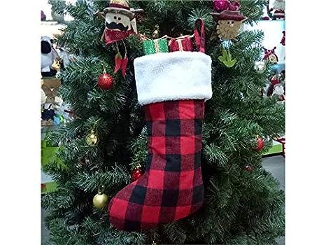 JxucTo Feliz Calcetines de Tela de Navidad a Cuadros Calcetines de Navidad a Mano decoración de Regalos: Amazon.es: Hogar