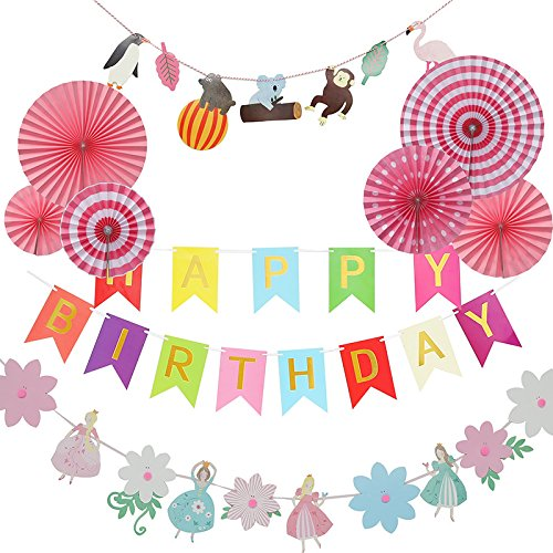 MGOGO Happy Birthday Party Bunting Banner Assembled, Ultimate 6 Paper Fan,Animals and Kids Paper Garland Perfect Paper Garland Hanging Decoration Supplies Favors (Pink)
