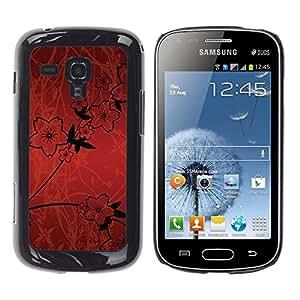 Stuss Case / Funda Carcasa protectora - Wallpaper Flowers Red Sketch Black Design - Samsung Galaxy S Duos S7562