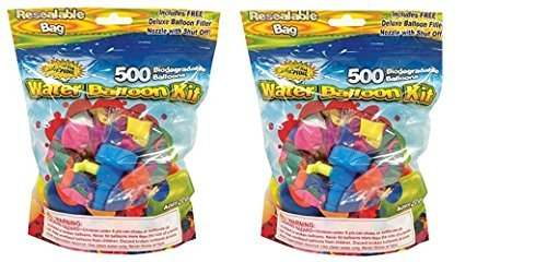 Water Sports 500, 2 pack water balloons with Refill Kits of latex water bomb, Summer Water Fight Sports Fun Party Favors for Kids & Adults(1000 count) by Water Sports