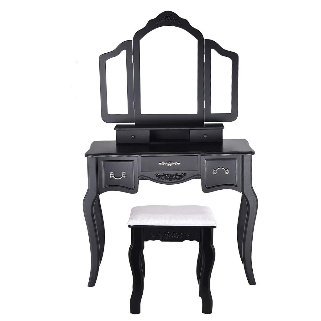 Vanity Beauty Station Makeup Table Wooden Stool 3 Mirrors and 5 Drawers Set Large Sliding Drawers Makeup Dressing Table with Cushioned Stool (Black) by IOTdou