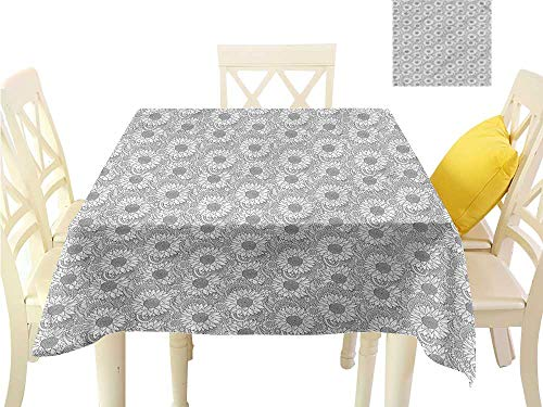 (WilliamsDecor Small Square Tablecloth Sunflower,Floral Pattern and Leaves Printed Tablecloth W 36