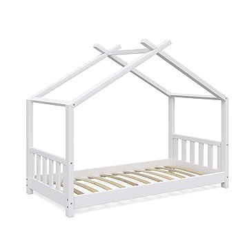 Vicco Kinderbett Hausbett Design 80x160cm Weiss Zaun Kinder Bett Holz